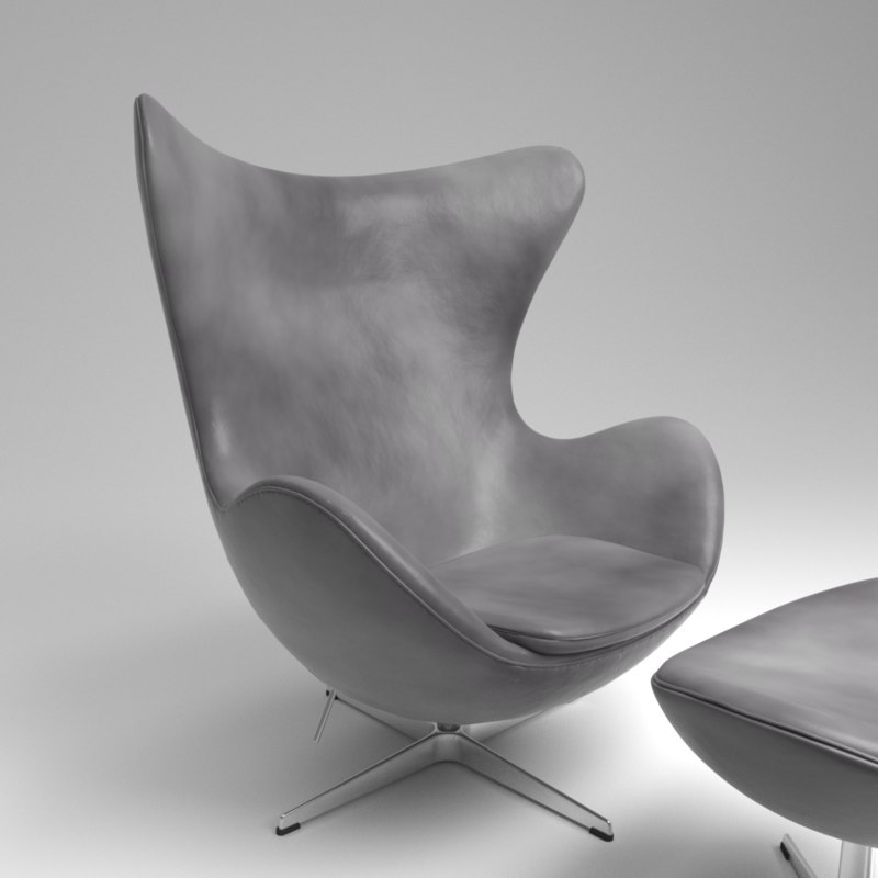 3D fritz hansen egg leather model