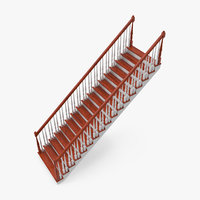 3D residential staircase straight