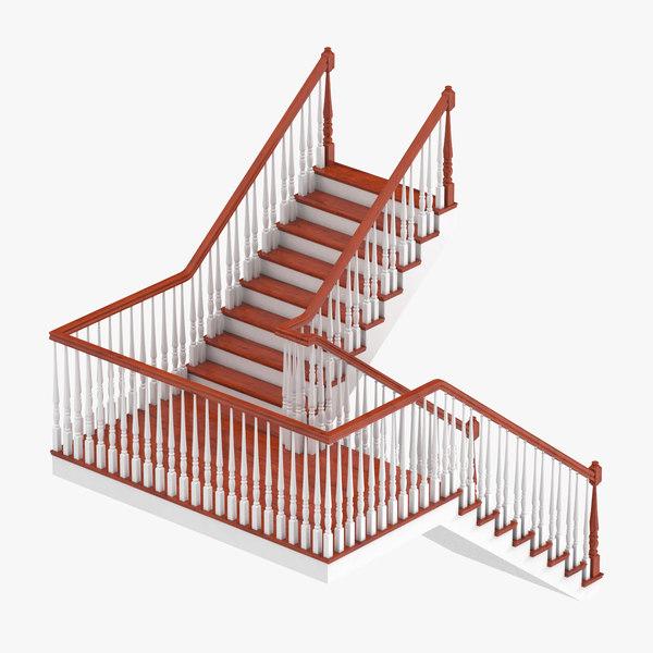3D residential staircase landing