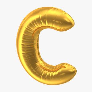 foil balloon letter c 3D model