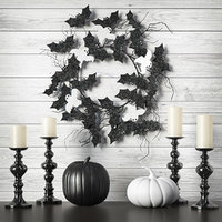 3D halloween wreath black white
