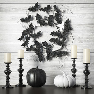 3D halloween wreath black white