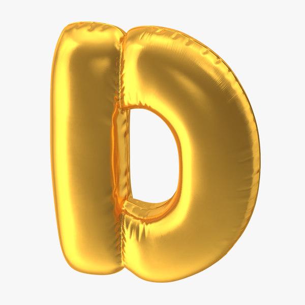 3D model foil balloon letter d