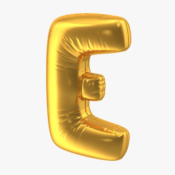 foil balloon letter e 3D