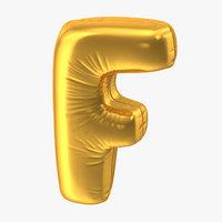 foil balloon letter f 3D model