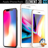 3D apple iphones pack model