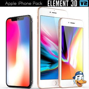 3D apple iphones pack model