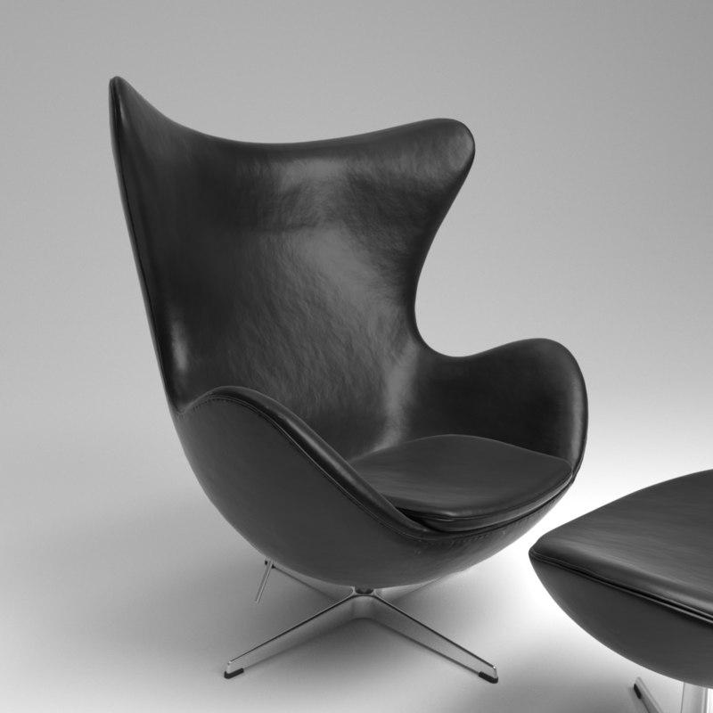 3D model fritz hansen egg leather black