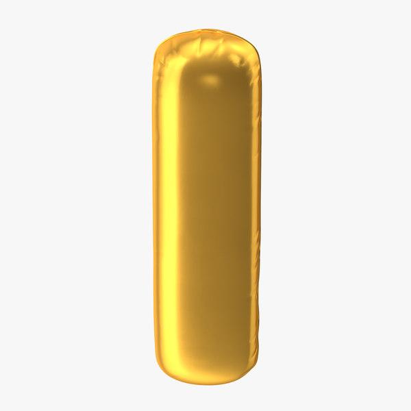 3D foil balloon letter gold model