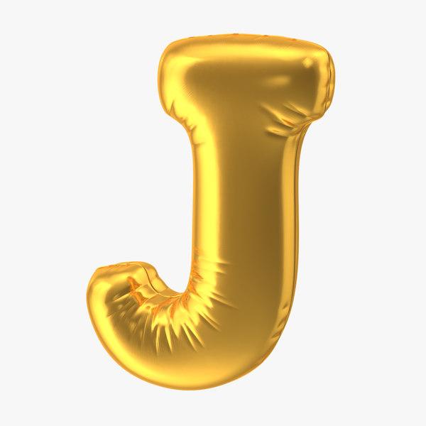 3D foil balloon letter j