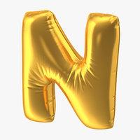 foil balloon letter n 3D
