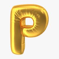 3D model foil balloon letter p