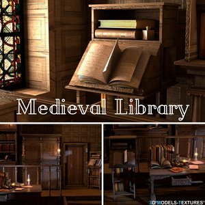 3D medieval library model