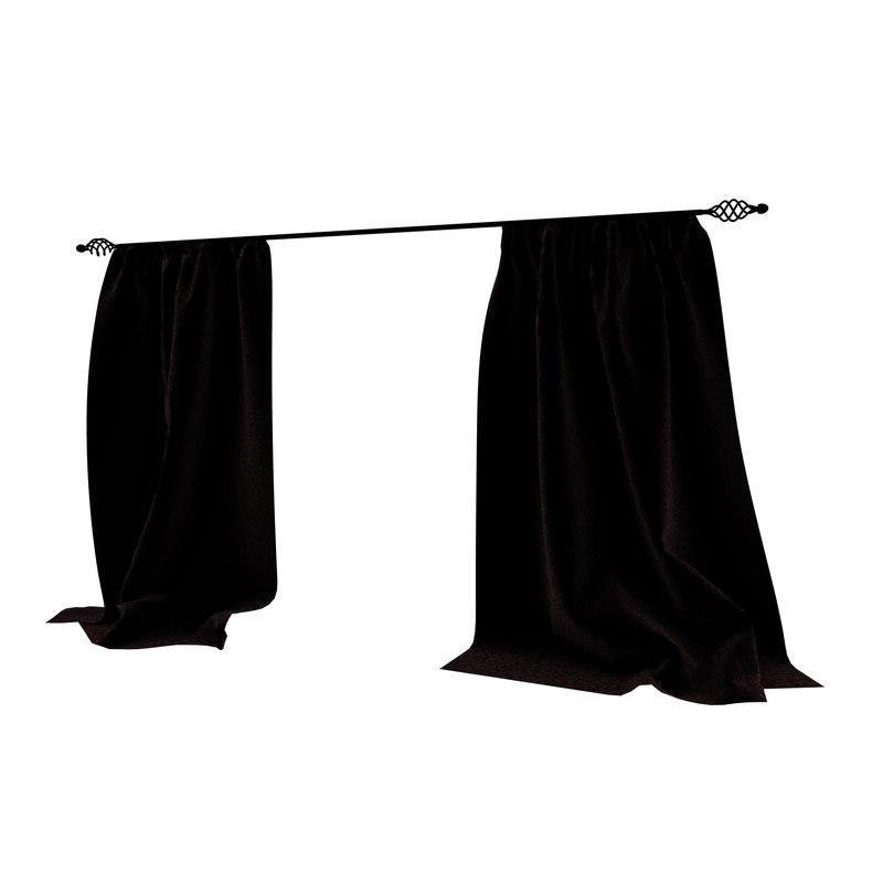 velvet curtains 3D model