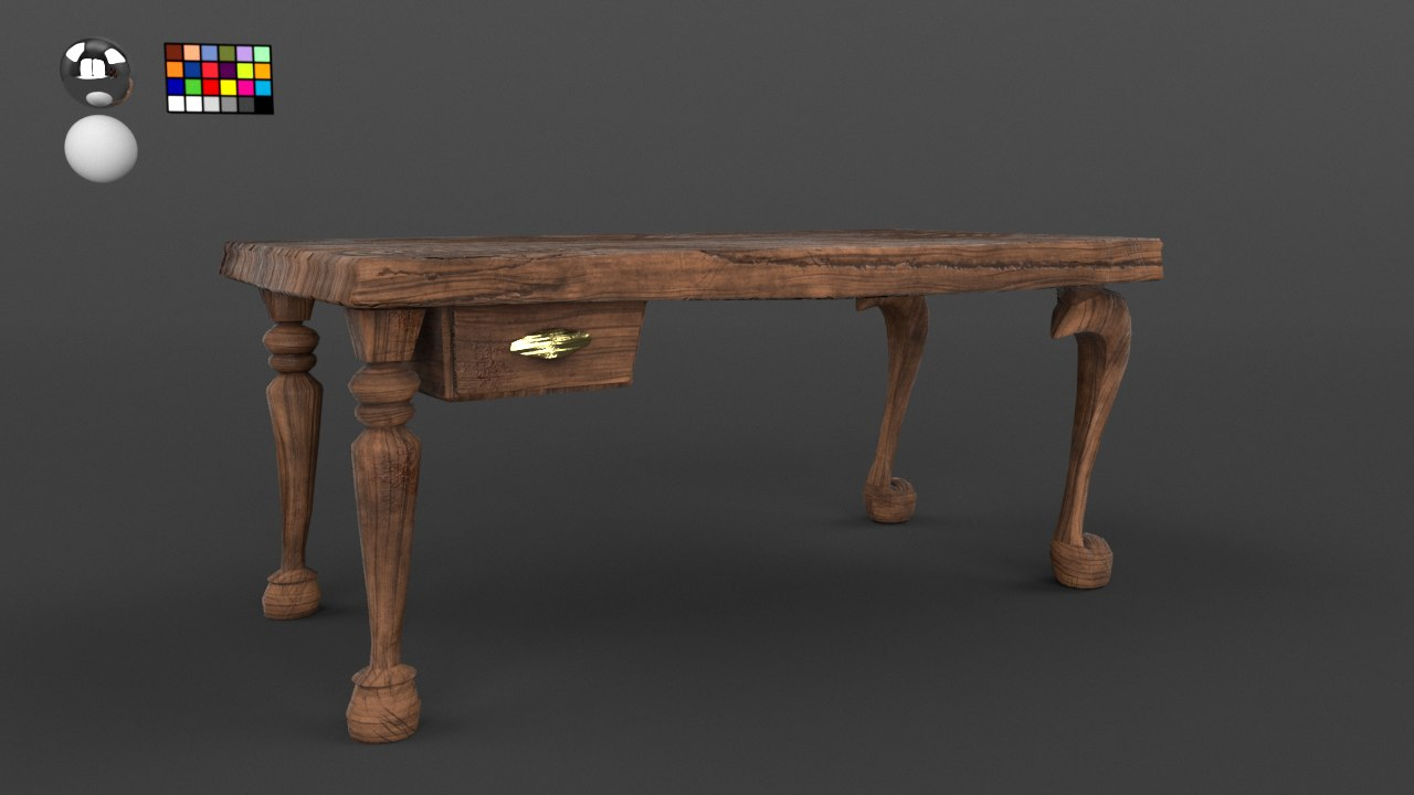 3D stylised wooden desk model