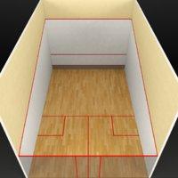 3D squash sport tennis court