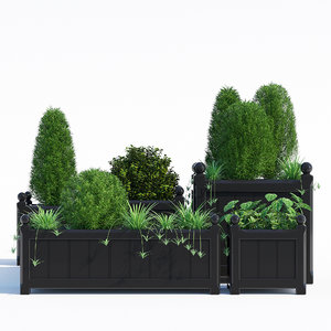 windsor planter black 3D model