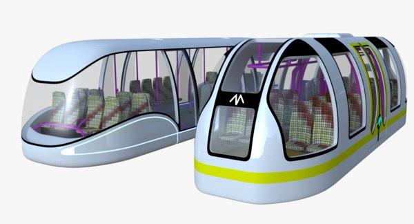 3D futuristic passenger transporters
