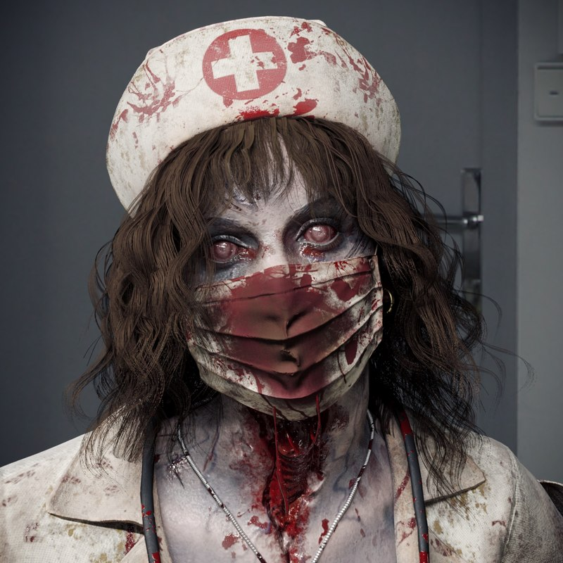 3D zombie nurse character pbr