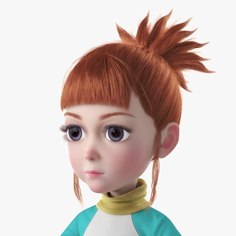 girl cartoon 3D model