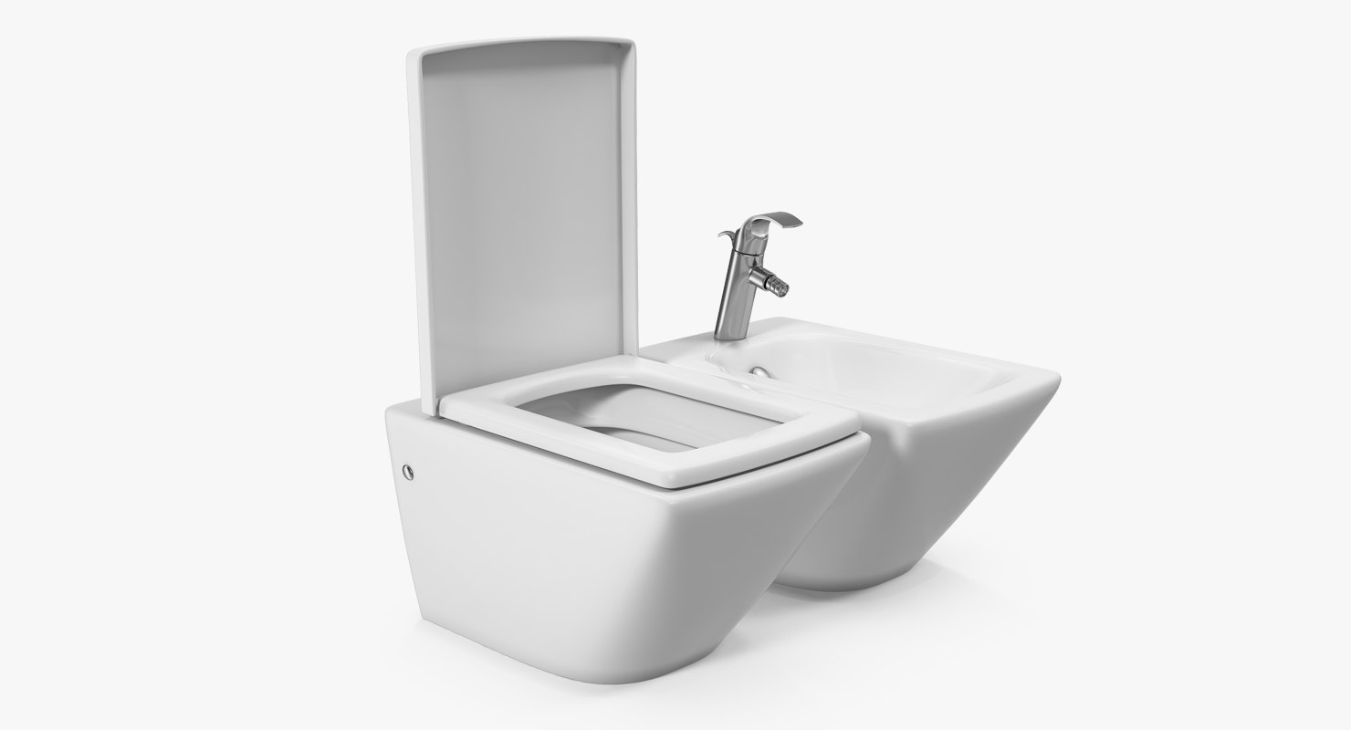 wall toilet bidet white 3D model