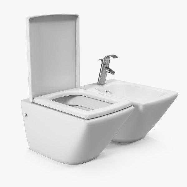 wall toilet bidet white 3D model