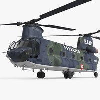 Transport Helicopter CH-47 Chinook Rigged 3D Model