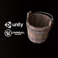 Medieval Wood Bucket - PBR Game Ready