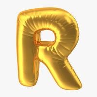 3D foil balloon letter r
