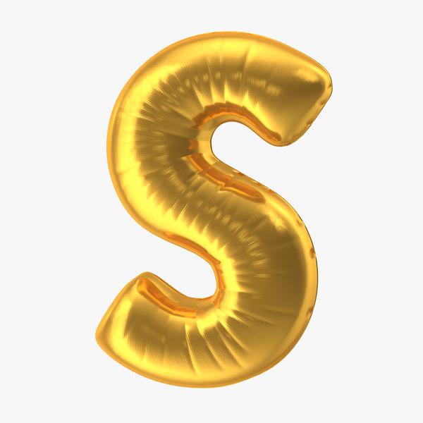 foil balloon letter s 3D