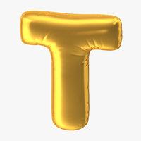 foil balloon letter t 3D model