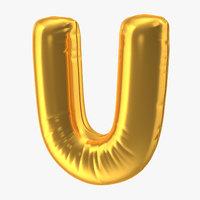 foil balloon letter u 3D model
