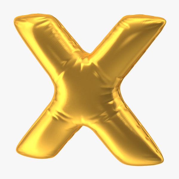 3D model foil balloon letter x