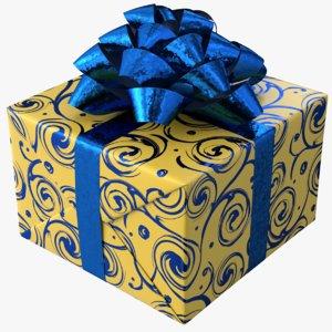 realistic gift box 02 model