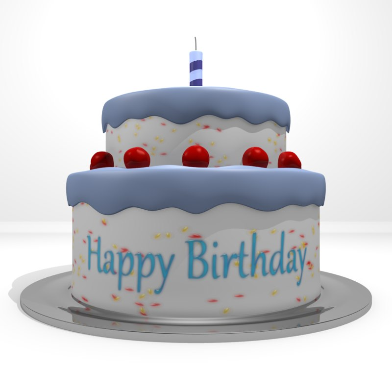 Happy Birthday Cake 3d Model Turbosquid 1215048