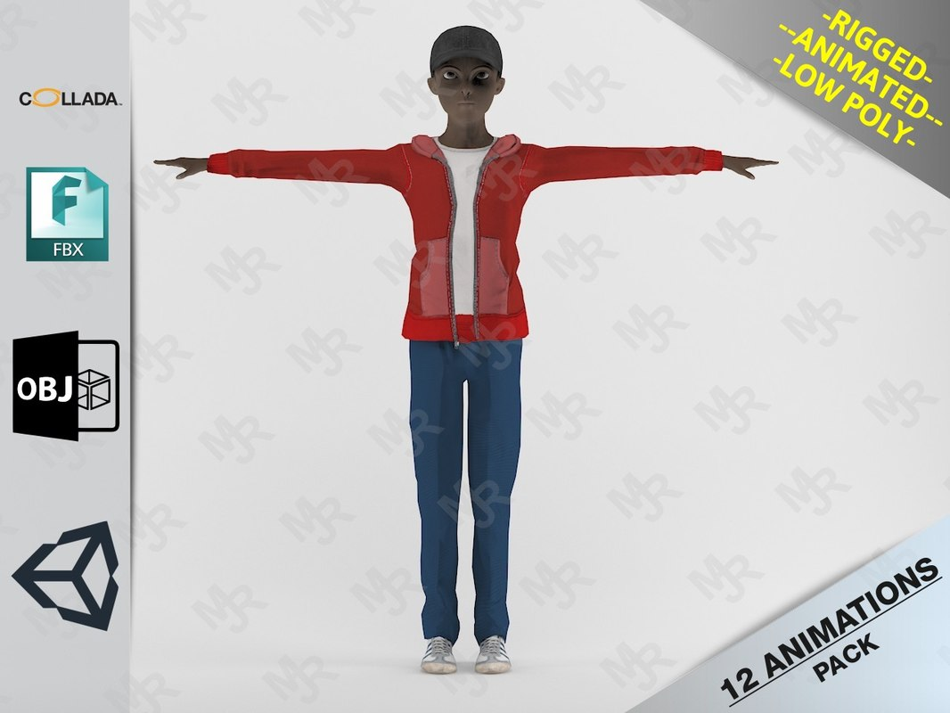 cartoon boy motion pack 3D model
