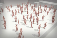 3D people crowd