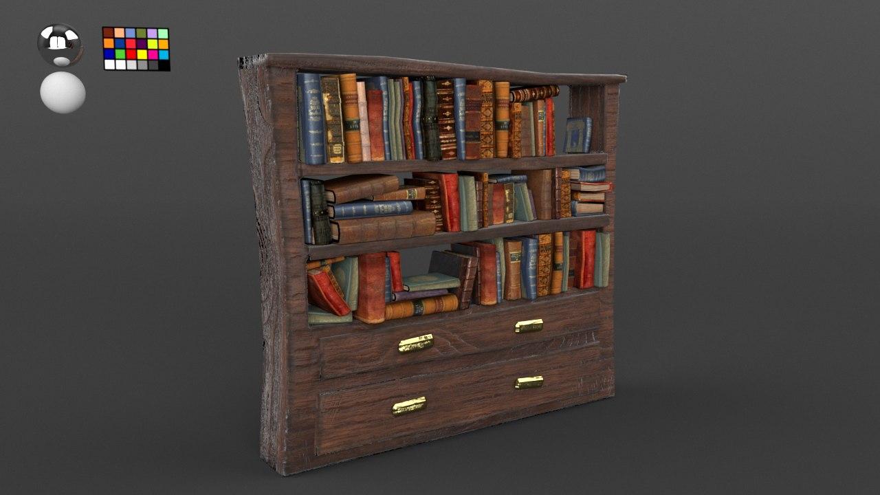 old wooden bookshelf books 3D