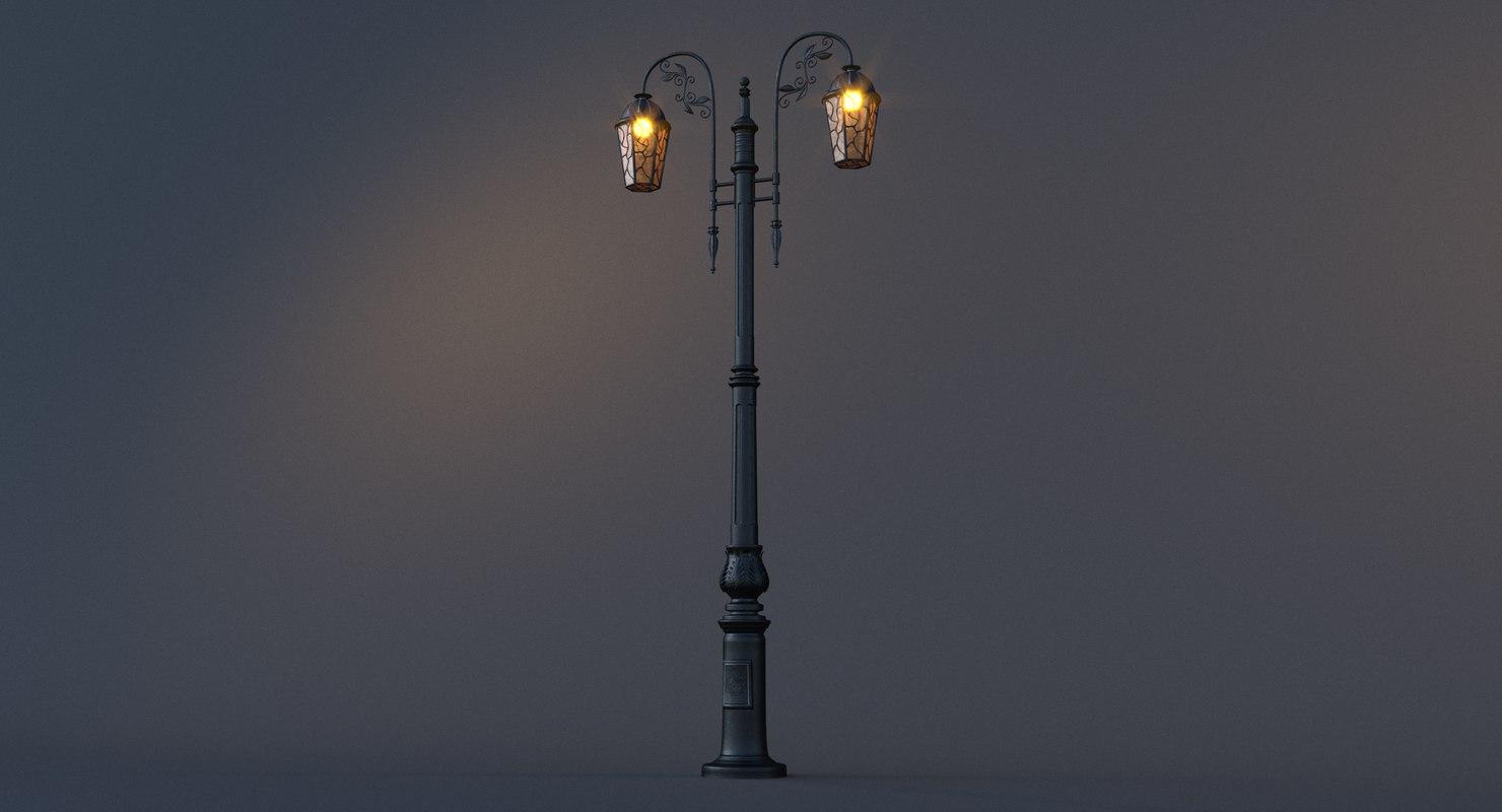 3D ornamental street lamp bulb light model