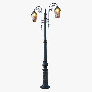 3D ornamental street lamp bulb light model
