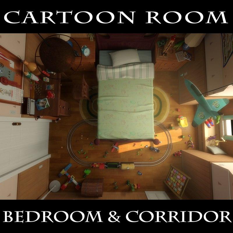 3D cartoon room corridor