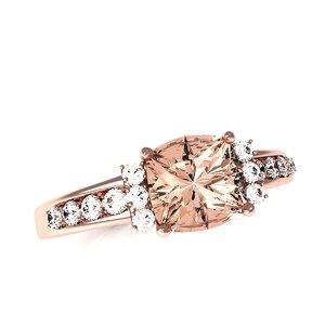 3D rose gold ring model