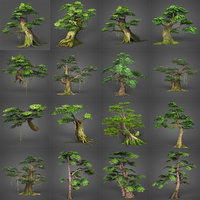 Game Ready Low Poly 16 Tree Collection