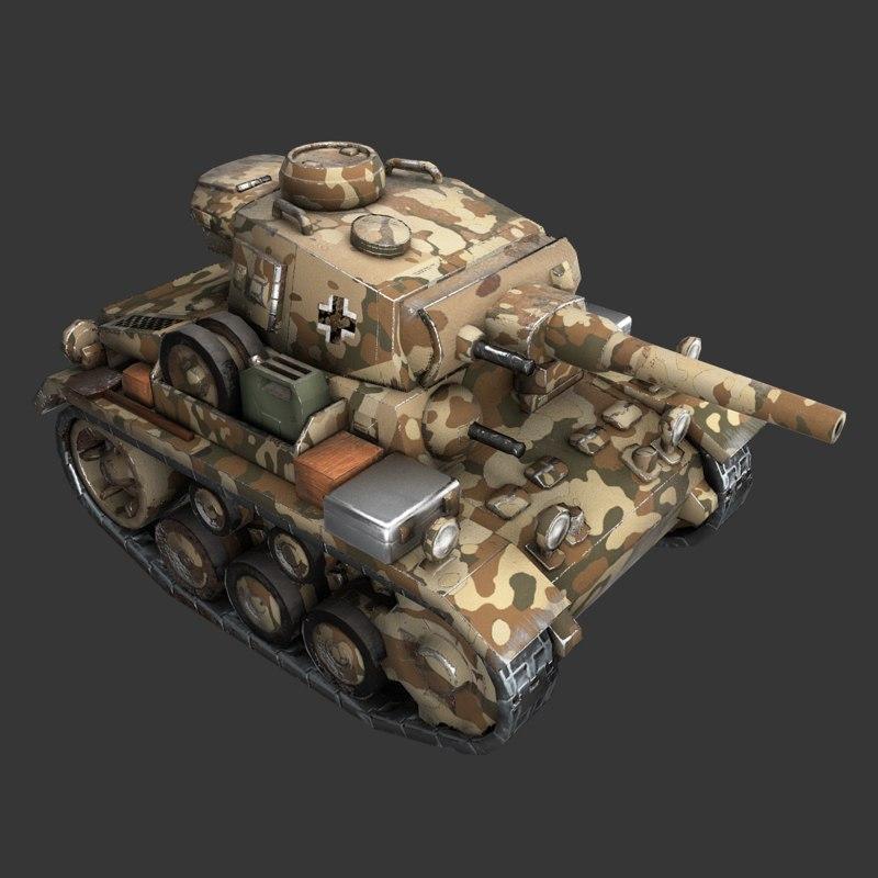 cartoon panzer iii 3D