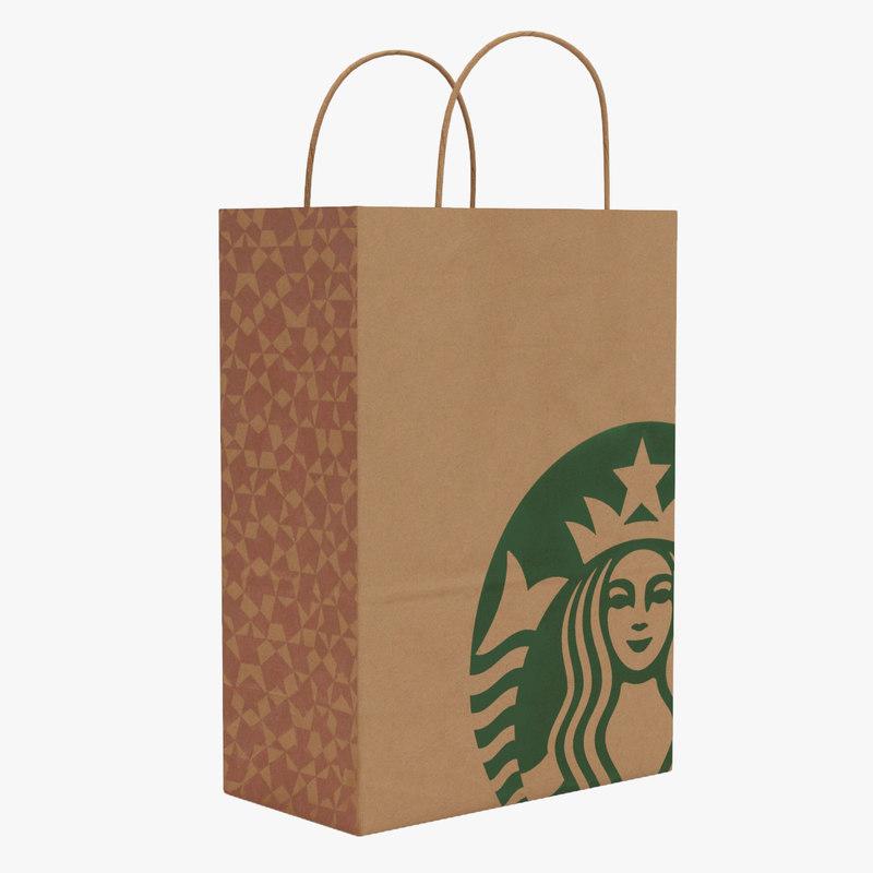 Starbucks Paper Bag 3d Model