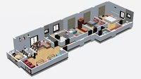 3D interior apartment revit