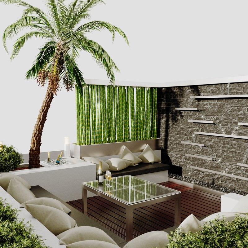 3D contemporary patio model