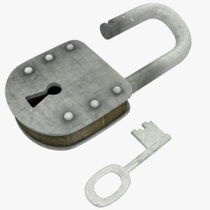 3D old lock key model