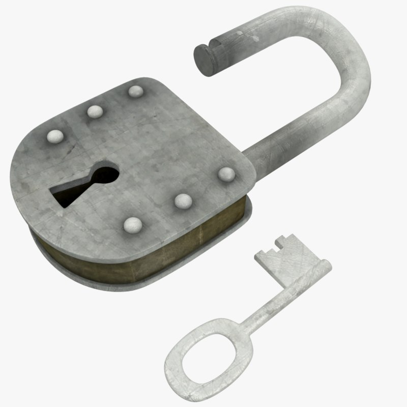 3D old lock key model