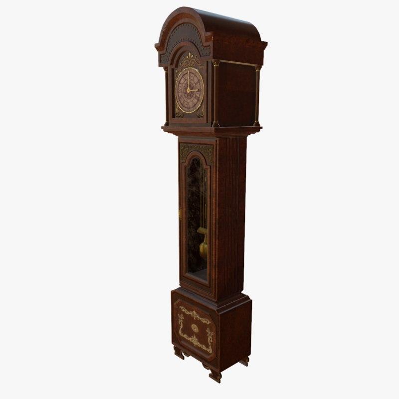3D model longcase clock